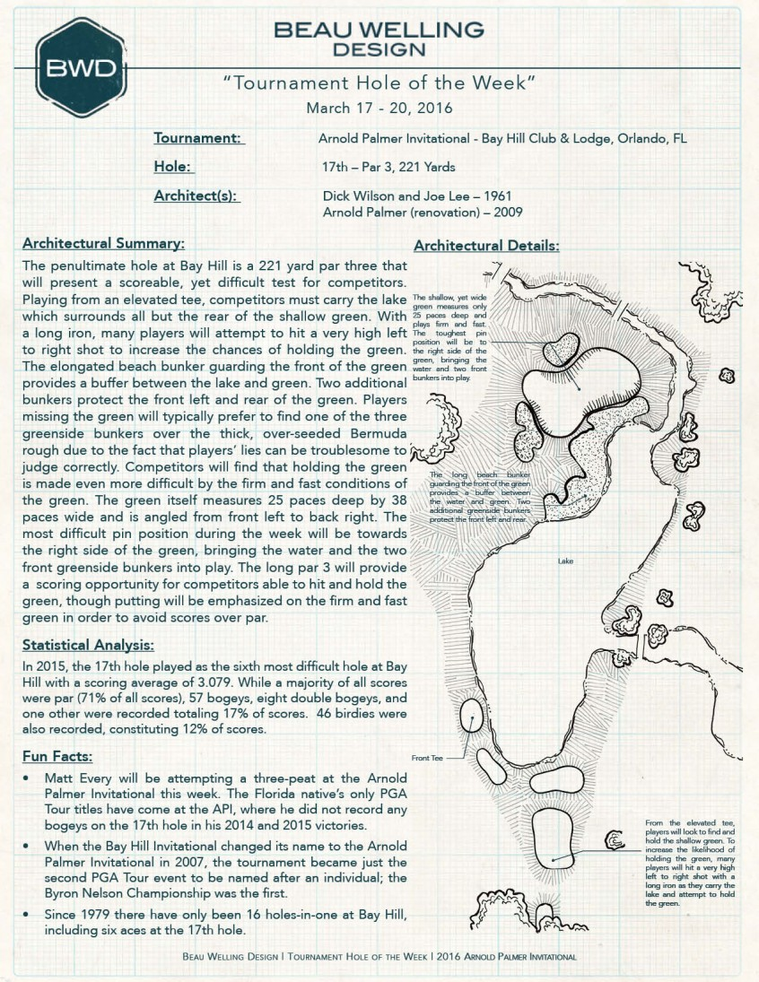 The BWD Tournament Hole of the Week: March 17 – 20, 2016. The 17th at Bay Hill Club & Lodge, Home of Arnold Palmer Invitational.
